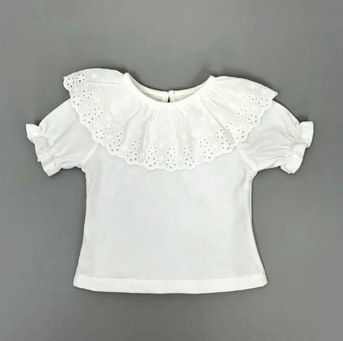 Beautiful Lace detail Tshirt for girls, baby clothing and toddler summer clothes. Preety girls stylish Tee can be worn alone or as a key layering piece at Bel Bambini Boutique.