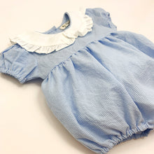 Load image into Gallery viewer, Toddler and baby girls romper made in 100% cotton fabric, short sleeves and a frill collar in a blue gingham print. Cute summer rompers for girls at Bel Bambini baby boutique.