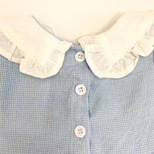 Load image into Gallery viewer, We have some beautiful baby clothing at Bel Bambini baby boutique. Rompers, dresses and some super cute styles for girls. Here is a detail shot of our short sleeve cotton romper, showing three buttons down the back.