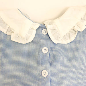 We have some beautiful baby clothing at Bel Bambini baby boutique. Rompers, dresses and some super cute styles for girls. Here is a detail shot of our short sleeve cotton romper, showing three buttons down the back.