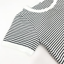Load image into Gallery viewer, Detail shot of our striped boys short sleeve tee. Comes with a matching pair of shorts. Great little summer outfit for toddler boys.