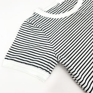 Detail shot of our striped boys short sleeve tee. Comes with a matching pair of shorts. Great little summer outfit for toddler boys.