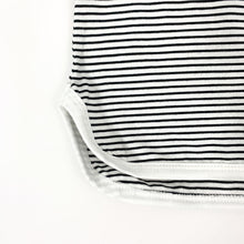 Load image into Gallery viewer, Striped tee with a stepped hem and contrast binding. A black and white summer set for toddler boys exclusive to Bel Bambini baby boutique.