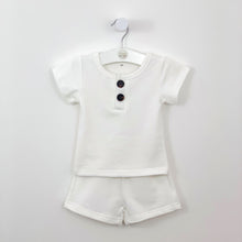 Load image into Gallery viewer, Baby boy shorts and t-shirt set in white, a perfect summer outfit made in a beautiful cotton rich supersoft and comfortable fabrication. Short sleeve tee and matching shorts with side pockets. A great outfit for casual and special events. Baby boy summer clothes and toddler summer outfits here at Bel Bambini baby boutique.