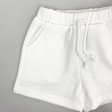 Load image into Gallery viewer, Shorts detail shot with side pockets, an elasticated waistband with a non functional cord. Boys shorts, baby boys shorts and tshirt set for summer.
