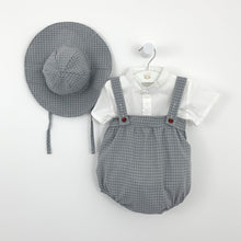 Load image into Gallery viewer,  months. Shop baby boys clothes at Bel Bambini Boutique.Baby boys summer set, such a cute outfit. Complete with a shirt, romper and hat. Beautiful grey and white plaid print really adds so much style to this boys set. Available in -