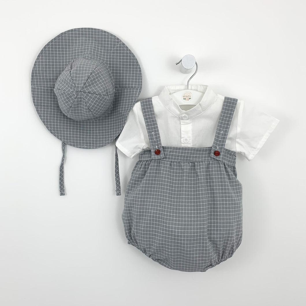 months. Shop baby boys clothes at Bel Bambini Boutique.Baby boys summer set, such a cute outfit. Complete with a shirt, romper and hat. Beautiful grey and white plaid print really adds so much style to this boys set. Available in -