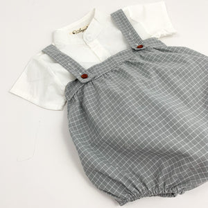 Plaid romper set for boys, super cute summer outfit for baby boys and toddlers. Available in grey and white. Exclusive to Bel Bambini baby boutique.