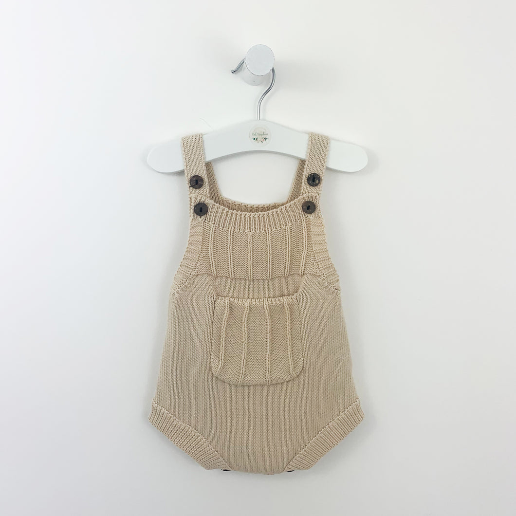 Knitted romper for boys in a beautiful shade of latte, made from 100% cotton yarn to ensure its supersoft and comfortable. Boys knitted rompers available at Bel Bambini baby boutique.