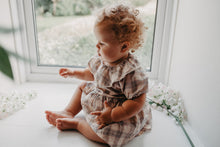 Load image into Gallery viewer, Girls romper dress for autumn winter. 0-2 years baby and toddler girls romper dress in a classic tartan print in autumnal colours. Pretty, stylish and trendy little style. Most certainly a must have this seaon.