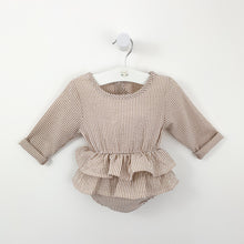Load image into Gallery viewer, Our baby girls romper with long sleeves and a double tiered frill. The lovely stripe print makes this such a cute little style. Popper fastenings to the crotch and a keyhole button fastening to the back.