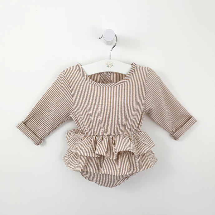 Our baby girls romper with long sleeves and a double tiered frill. The lovely stripe print makes this such a cute little style. Popper fastenings to the crotch and a keyhole button fastening to the back.