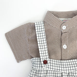 3 piece set for baby boys, short sleeved shirt, romper and matching hat. Baby romper set is so adorable and available in two colourways, grey or natural.