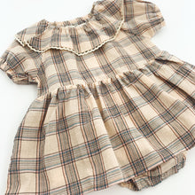 Load image into Gallery viewer, Stylish romper dress for baby and toddler girls. Tartan printed with puff sleeves and a pretty collar with a delicate trim. 0-6 months, 6-9 months, 9-12 months, 12-18 months, 18-24 months baby girls  rompers and dresses at Bel Bambini baby boutique. Autumn winter rompers for girls.