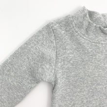 Load image into Gallery viewer, Grey marl sweater for baby boys with a high neck and long sleeves. 0-24 months clothing for boys at Bel Bambini boutique.