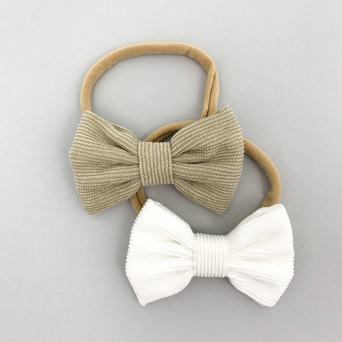 Bow Headbands Two Pack- Sage & White