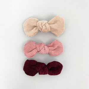 Our trio of Bareete clips keep your little ones hair out of the way in the most stylish way. Corduroy fabric in three beautiful shades, exclusive to Bel Bambini baby boutique.