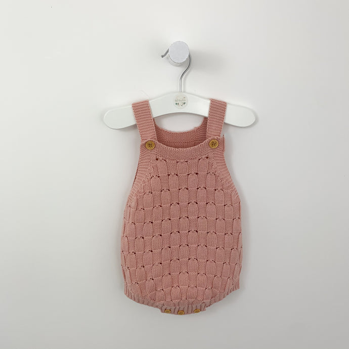 Litlle girl rompers. Our knitted romper is available in shell pink and grey, sizes 0-6m, 6-12m, 12-18m. Beautiful weave knitted romper with button fastenings to the shoulder. Shop our infant clohing collections online.
