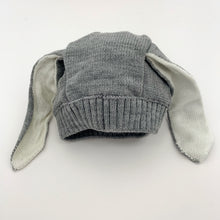 Load image into Gallery viewer, Boys knitted bunny hat in grey, suitable for 3-24 months. Soft and comfortable baby boys winter hat.