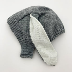 Bunny ear knitted hat in grey, so cute. Suitable for 3-24 months.