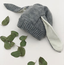 Load image into Gallery viewer, Grey and white bunny rabbit knitted hat for boys 3-24 months.