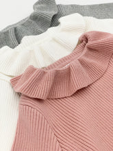 Load image into Gallery viewer, Pink sweater, grey sweater or ivory sweater for girls with a frill collar and long sleeves.
