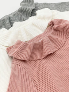Pink sweater, grey sweater or ivory sweater for girls with a frill collar and long sleeves.