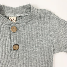 Load image into Gallery viewer, Ribbed loungewear set for baby boys up to 24 months. Available in tan or grey marl. Long sleeved set that's comfortable and soft.
