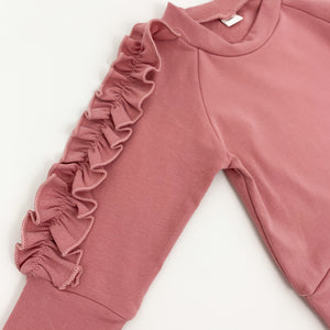 Frill trim down the arms of the sweater, comfortable lounge set for girls.