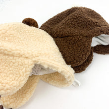 Load image into Gallery viewer, Baby boys teddy bobble hat with ear covers to keep extra warm.