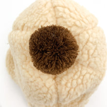 Load image into Gallery viewer, Teddy bear bobble hat for baby boys and toddlers in beige with a coffe colour bobble on top. Cute, warm and snuggly, perfect for cold, wintery days.