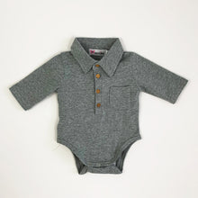 Load image into Gallery viewer, Baby boy shirt, collar to the neck with buttons down the front chest and a pocket detail. Long sleeve boys shirt in a vest style for easy comfort.