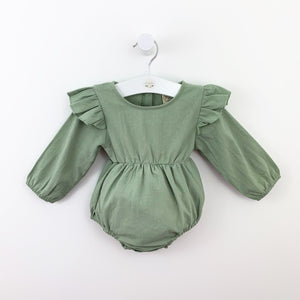 Baby girl romper. Flutter details to the shoulder and long sleeves make this baby girls romper so pretty. Toddlers are so stylish at Bel Bambini.
