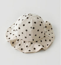 Load image into Gallery viewer, Baby sunhat. Polka dot printed baby and toddler sunhats from 0-2 years. Perfect floppy sunhat to keep your little ones face protected. Cotton sunhat for baby and toddler.