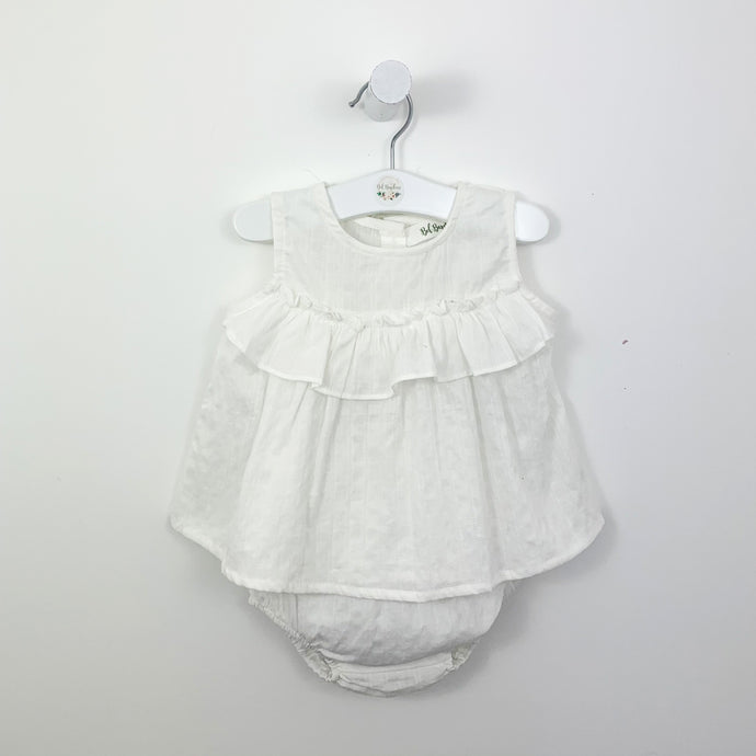 Bloomer set for summer in white. Perfect summer styles for babies and toddlers exclusive to Bel Bambini baby boutique. Shop our baby gifts and baby clothing from newborn up yo  years. Boys and girls clothing.