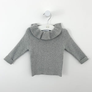 Girls grey sweater up to 3 years. Frill collar and ribbed knitted fabric base. Long sleeves, perfect  girls sweater for winter time when its cold outside.