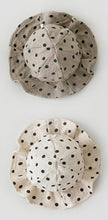 Load image into Gallery viewer, Our cotton sunhats for babies and toddlers are available in Ivory or taupe. Sizes 0-24 months. Perfect summer hat for baby boys and baby girls. Floppy sunhats made from 100% cotton.