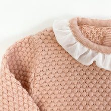 Load image into Gallery viewer, Detail shot of our Bel Bambini two piece knitted set in shell pink. Stunning girls outfit.