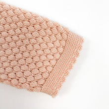 Load image into Gallery viewer, Detail shot of our Bel Bambini two piece knitted set in shell pink. Baby and toddler knotted set 0-24 month clothing. Stunning girls outfit.