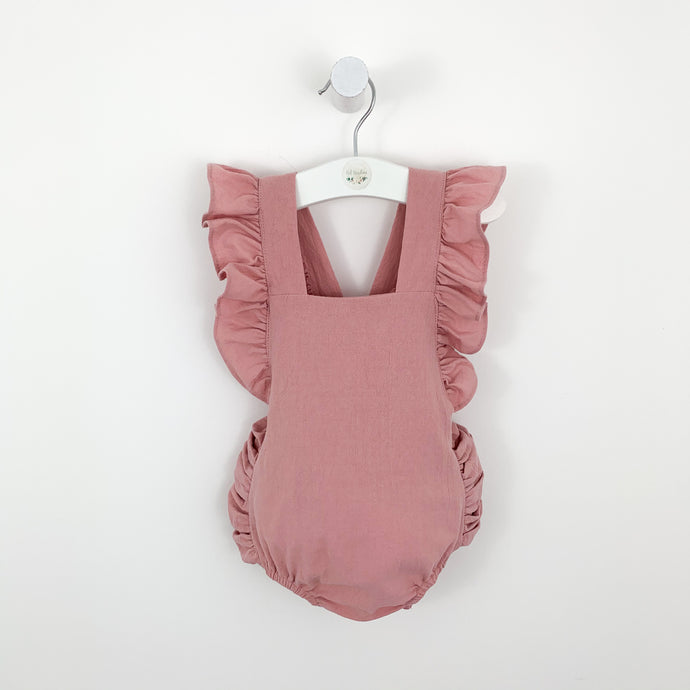 baby girls romper, perfect outfit for gurls in a ahade of pink. pretty flutter sleeves and rouched detailing to the sides.