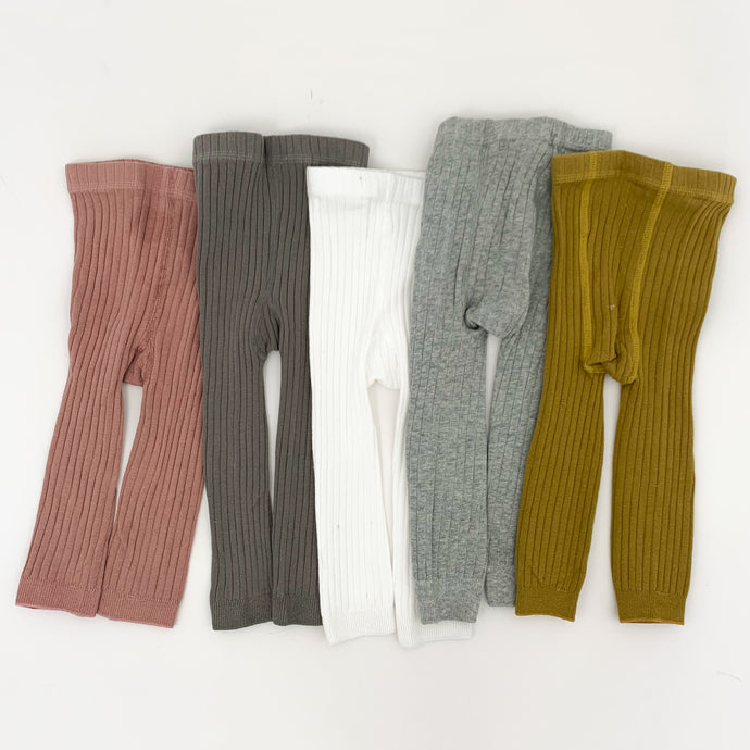 Baby and toddler rib knit leggings, super soft and comfortable, perfect for keeping warm and looking super stylish. Available in five colours exclusive to Bel Bambini Baby Boutique.