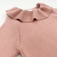 Load image into Gallery viewer, Toddler girls frill collar sweater available in pink, ivory or grey.