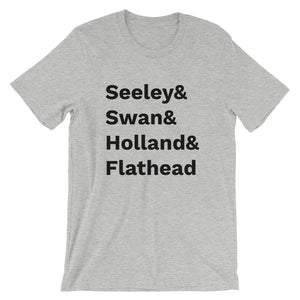 Missoula-inspired t-shirt reps our favorite surrounding lakes - Seeley, Swan, Holland, and Flathead