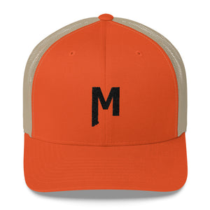 Montana M embroidered orange khaki brown Mesh Trucker Hat