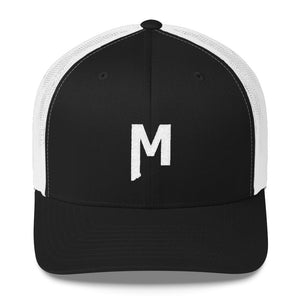 M Trucker (black/white) - Montana M embroidered Mesh Trucker Hat