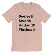 Load image into Gallery viewer, Missoula-inspired t-shirt reps our favorite surrounding lakes - Seeley, Swan, Holland, and Flathead