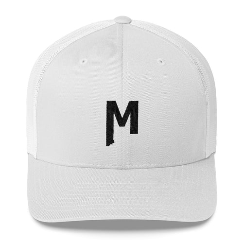 Montana M embroidered grey white Mesh Trucker Hat