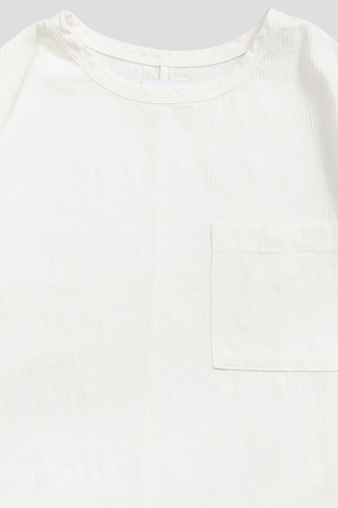 HYMNE TEXTURED WOVEN POCKET SS TSHIRT OFF WHITE