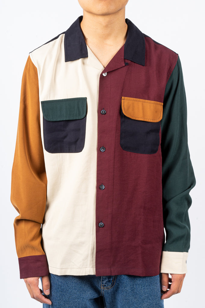 STUSSY COLOR BLOCK RAYON SHIRT MULTI