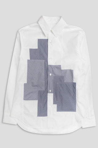 GANRYU LS BUTTON UP WHITE NAVY